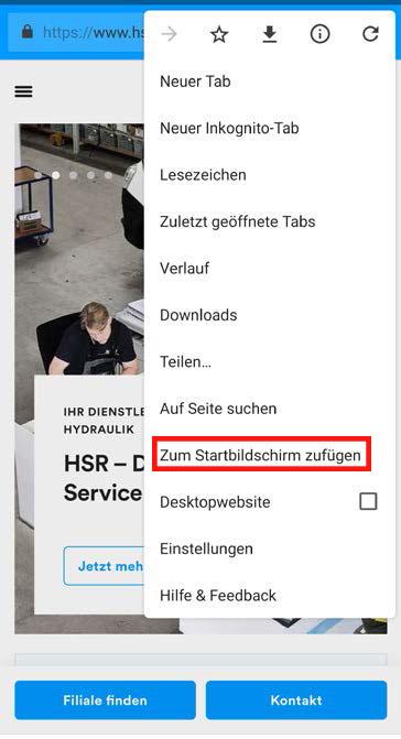 Die HSR Web-App für Android